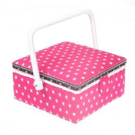 Boite à couture carré rose à étoile blanche - Petite