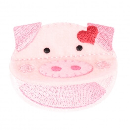 Ecusson cochon bouche ouverte - Rose