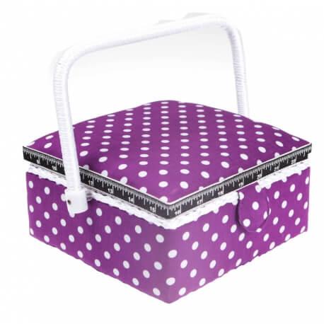 Boite à couture carré violette à pois blanc - Petite