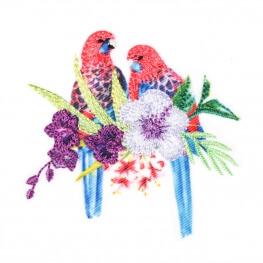 Ecusson exotique perruches & hibiscus