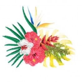 Ecusson exotique hibiscus et fleur bec de perroquet