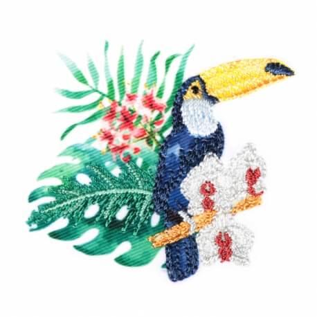 Ecusson exotique toucan & palmiers
