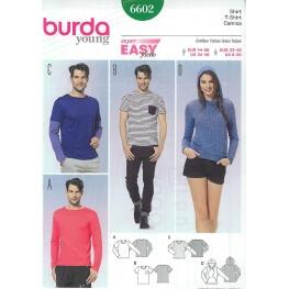 Patron t-shirt et t-shirt à capuche femme & homme - Burda 6602