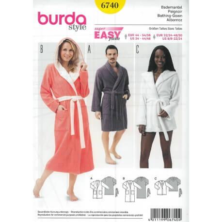 Patron de peignoir femme & homme - Burda 6740