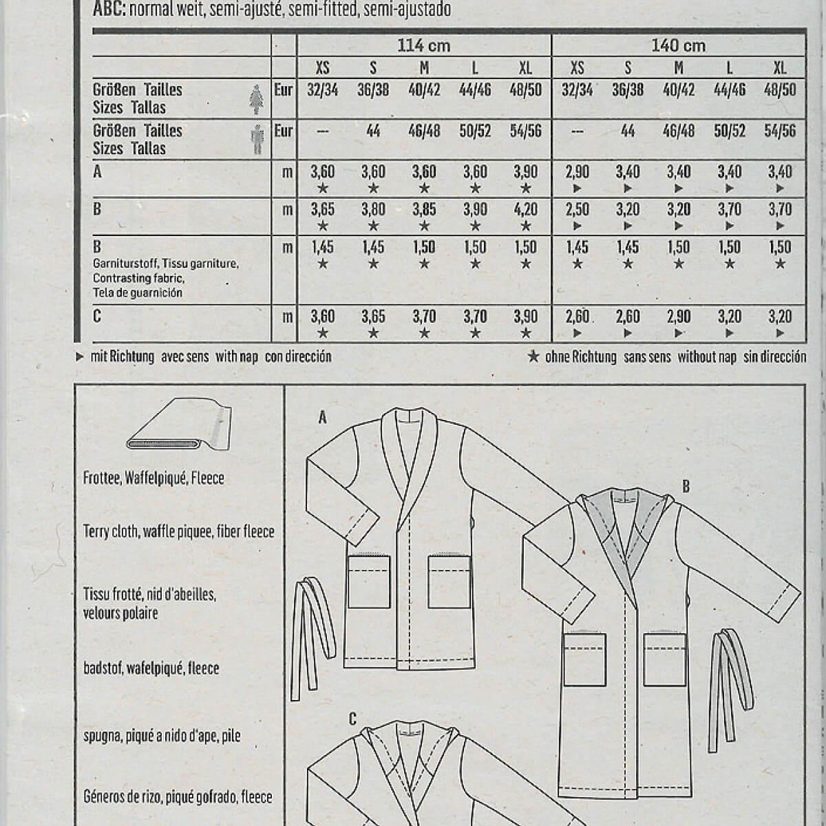 patron de peignoir femme homme burda 6740 mercerie car fil. Black Bedroom Furniture Sets. Home Design Ideas