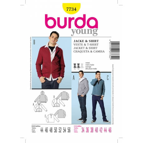 Patron sweat-shirt homme - Burda 7734