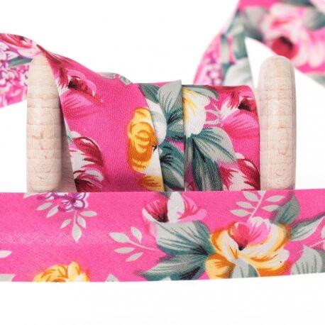 Biais coton fleuri vintage au mètre - Rose fuchsia
