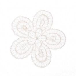 Ecusson fleur fine broderie - Blanc cassé