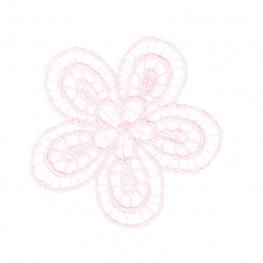 Ecusson fleur fine broderie - Rose