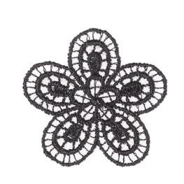 Ecusson fleur fine broderie - Noir