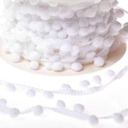 Ruban galon pompons grelot au mètre - Blanc