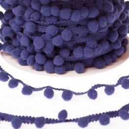 Ruban galon pompons grelot au mètre - Bleu