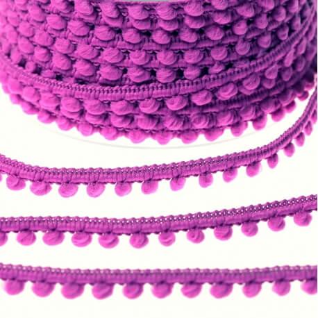 Ruban galon petit pompon au mètre - Violet vif