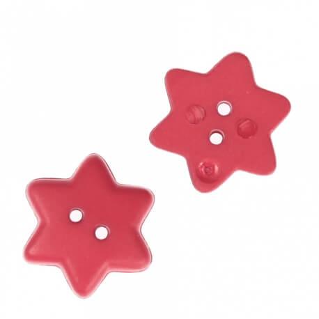 Bouton étoile 15mm - Rouge