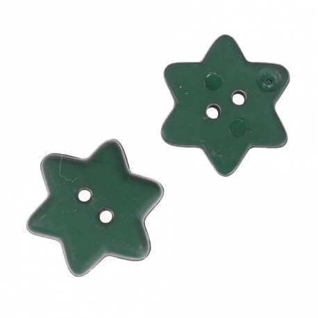 Bouton étoile 15mm - Vert foncée