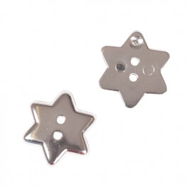 Bouton étoile brillante 15mm - Argent