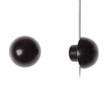 Bouton demi boule uni - Noir