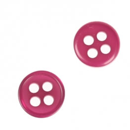 Bouton rond 4 trous à coudre fuchsia - 9 & 11 mm