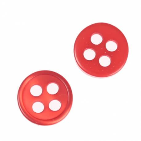 Bouton rond 4 trous à coudre rouge - 9 & 11 mm