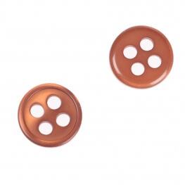 Bouton rond 4 trous à coudre marron - 9 & 11 mm