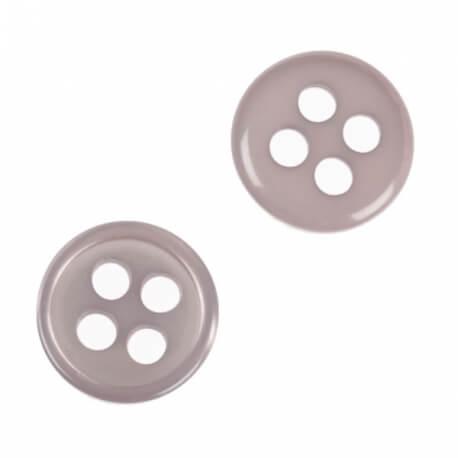 Bouton rond 4 trous à coudre gris - 9 & 11 mm