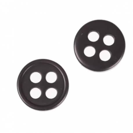 Bouton rond 4 trous à coudre noir - 9 & 11 mm