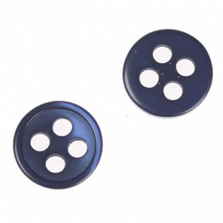 Bouton rond 4 trous à coudre bleu marine - 9 & 11 mm