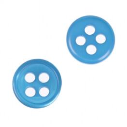Bouton rond 4 trous à coudre bleu - 9 & 11 mm