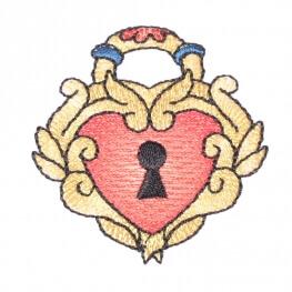Ecusson cadenas coeur tattoo vintage