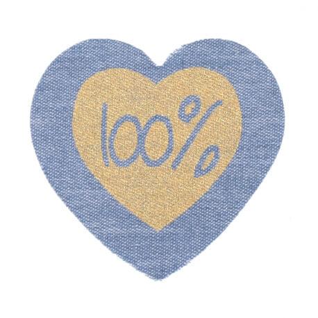 Ecusson tissu coeur bleu & or - 100%