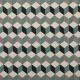 Tissu jacquard cube graphique - Turquoise