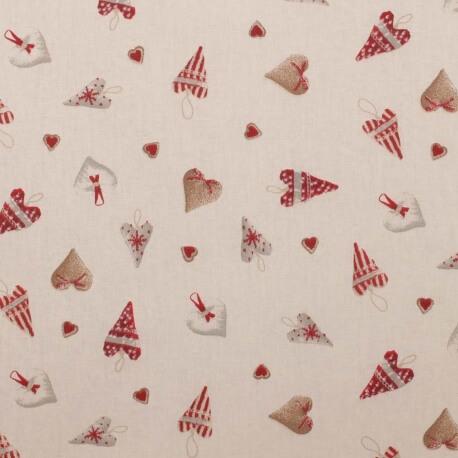 Tissu coton cretonne coeur d'hiver - Rouge