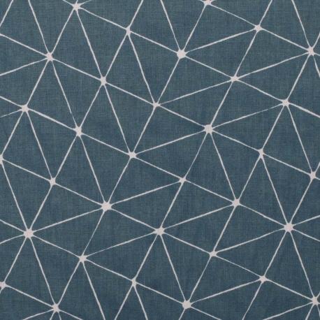Tissu coton cretonne graphique origami - Bleu
