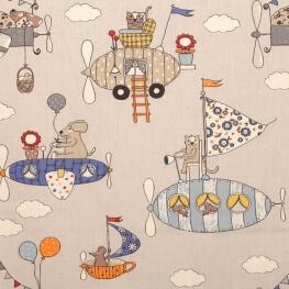 Tissu coton cretonne enfant avion & cie - Sable