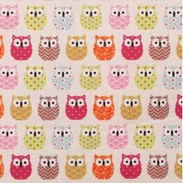 Tissu coton cretonne mini hiboux - Couleurs acidulées
