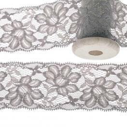 Dentelle élastique fleurie 55mm au mètre - Gris