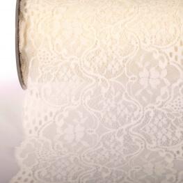 Dentelle élastique fleurie 220mm au mètre - Ecru