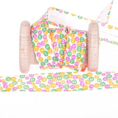 Biais fantaisie boutons au mètre - Vert, orange & rose