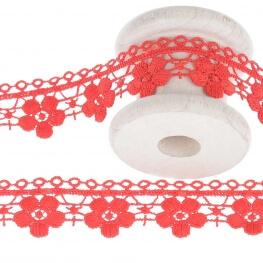 Guipure fantaisie ajourée fleuri uni - Rouge