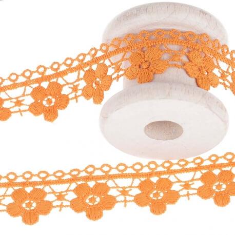 Guipure fantaisie ajourée fleuri uni - Orange