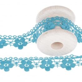 Guipure fantaisie ajourée fleuri uni - Bleu
