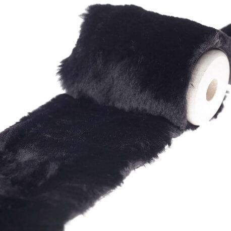 Ruban imitation fourrure uni 10 cm - Noir