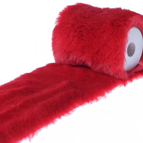 Ruban imitation fourrure uni 10 cm - Rouge