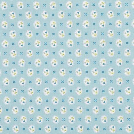 Tissu popeline coton médaillon fleuri - Bleu