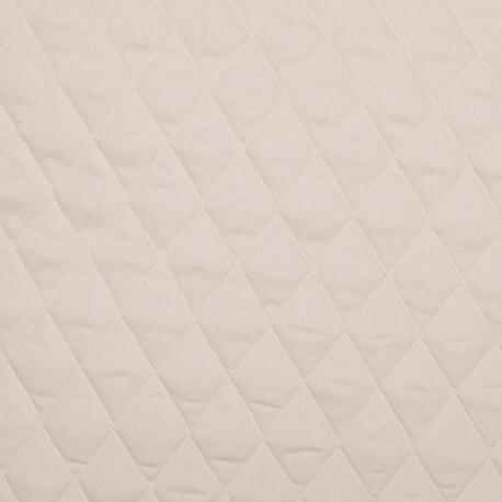 Tissu piqué de coton matelassé uni - Ecru
