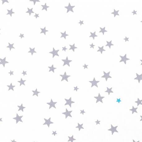 Tissu piqué de coton fantaisie étoiles - Gris & turquoise