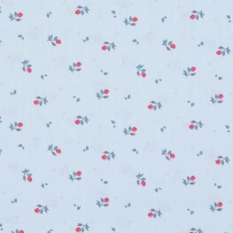 Tissu popeline coton fleurs et feuilles - Bleu