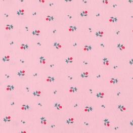 Tissu popeline coton fleurs et feuilles - Rose