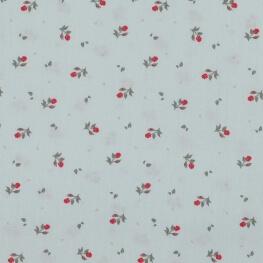 Tissu popeline coton fleurs et feuilles - Vert doux