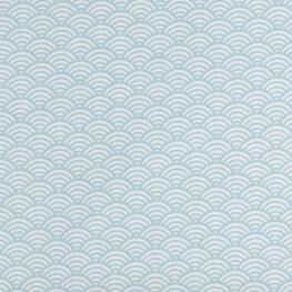 Tissu coton cretonne vague japonaise - Bleu ciel